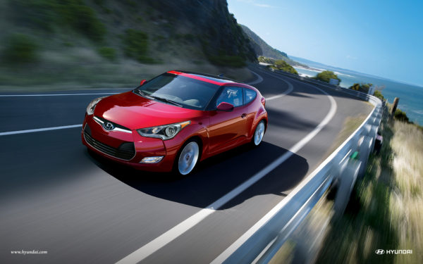 Rd 2016 Hyundai Veloster on a highway