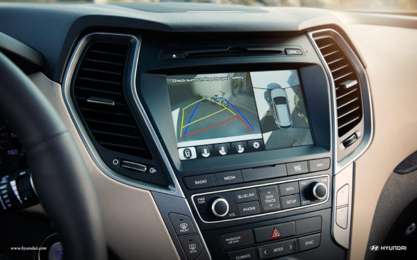 Rear View Camera inside a 2017 Hyundai Santa Fe Sport