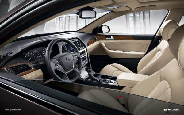 Interior of 2017 Hyundai Sonata with beige leather seats