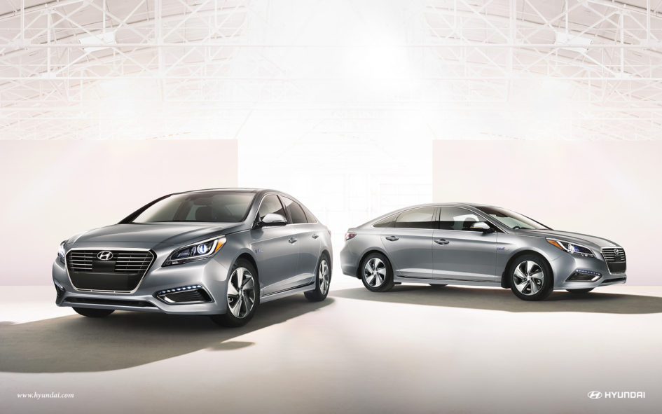 Pair of silver Hyundai Sonata Plug In Hybrids