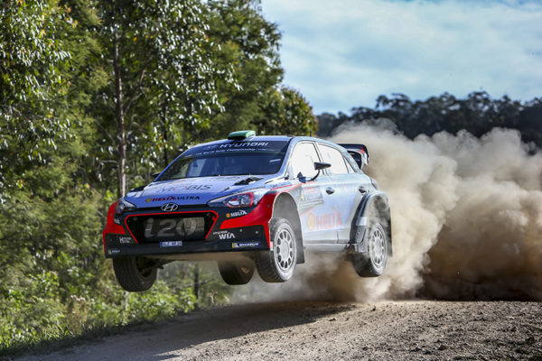 Hyundai i20 in action at 2016 FIA World Rally Championship