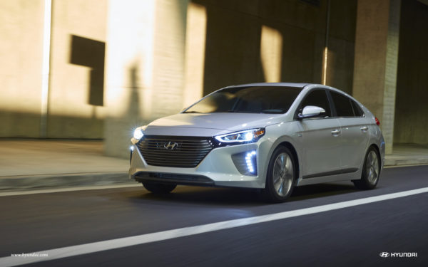 2017 Hyundai Ioniq driving down the road