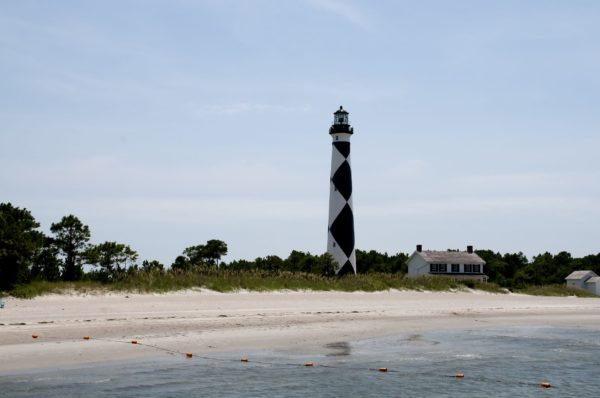 Cape Lookout Lighthouse on the beach