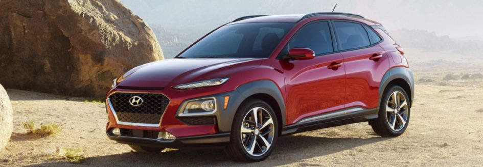 The 2018 Hyundai Kona parked by a beach.