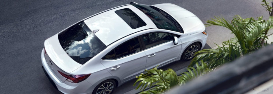 View of White 2019 Hyundai Elantra from above