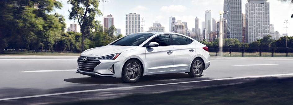 2020 Hyundai Elantra driving through the city